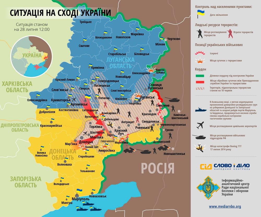 Карта боевых действий на Донбассе составленная СНБО, 2 июля