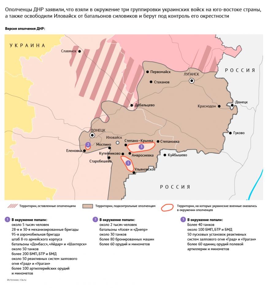 Карта боевых действий на Донбассе за 26 августа