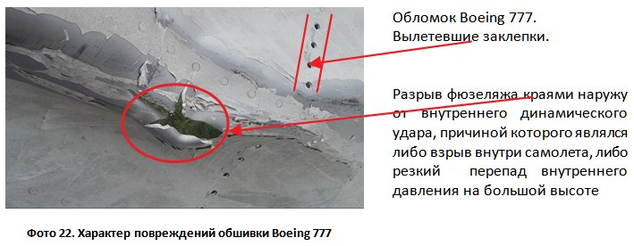 Фото 22. Характер повреждений обшивки Boeing 777