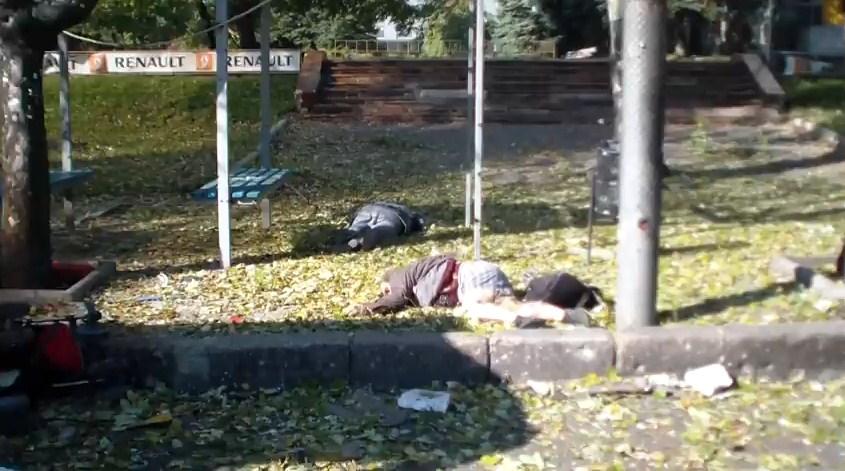 В Донецке снаряд попал в остановку