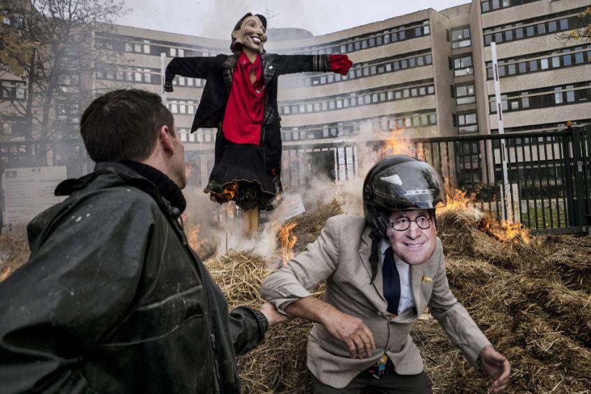Сожжение чучела министра экологии Сеголен Руаял