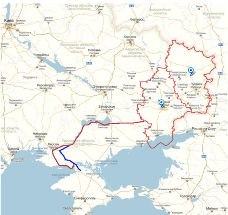 Карта Большого Донбасса с обозначением Северо-Крымского канала