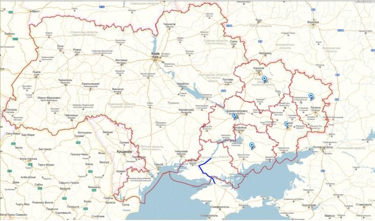 Карта Малой Новороссии с обозначением Северо-Крымского канала