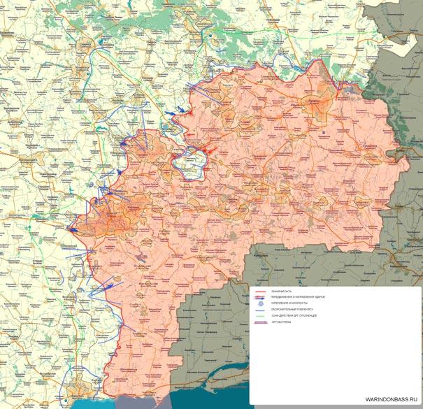 Карта боевых действий в Новороссии на 9 февраля