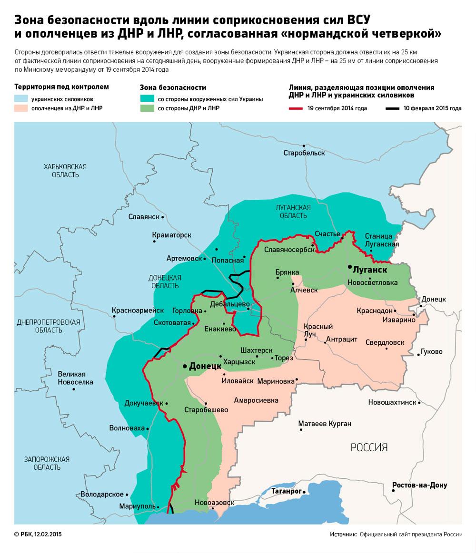 Карта ДНР и ЛНР, линия развода войск