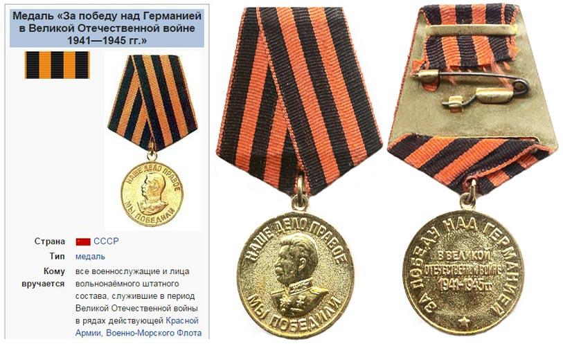 Медаль за Победу и георгиевская ленточка