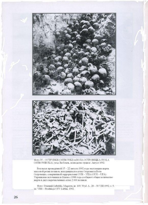 ОСТРУВКИ (OSTR?WKI) и ВОЛА ОСТРОВЕЦКА (WOLA OSTROWIECKA), уезд Любомль, воеводство луцкое. Август 1992. Результат проведённой 17 — 22 августа 1992 года эксгумации жертв массовой резни поляков, находящихся в сёлах Острувки и Вола Островецка, совершённой террористами ОУН — УПА (OUN — UPA). Украинские источники из Киева с 1988 года сообщают общее количество жертв в двух перечисленных сёлах 2.000 поляков. Фото: Dziennik Lubelski, Magazyn, nr. 169, Wyd. A., 28 — 30 VIII 1992, s. 9, za: VHS — Produkcja OTV Lublin, 1992.