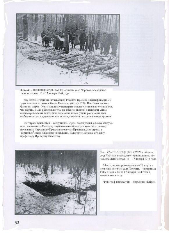 ПОЛОВЦЕ (PO?OWCE), область, уезд Чортков, воеводство тарнопольское. 16 — 17 января 1944 года. Лес около Ягелницы, называемый Росохач. Процесс идентификации 26 трупов польских жителей села Половце, убитых УПА. Известны имена и фамилии жертв. Оккупационные немецкие власти официально установили, что жертвы были раздеты догола, их жестоко пытали и истязали. Лица были окровавлены вследствие обрезания носов, ушей, разрезания шеи, выбивания глаз и удушения при помощи верёвок, так называемых арканов. Фотограф неизвестен — сотрудник 'Kripo'. Фотография, а также следующие, касающиеся Половец, опубликованы благодаря конспиративному начальнику Окружного Представительства Правительства страны в Чорткове Йозефу Опацкому (псевдоним 'Могорт'), а также его сыну — профессору Иренеушу Опацкому.