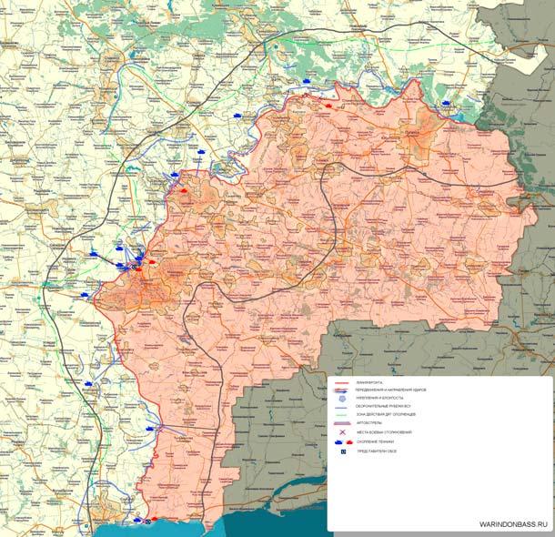 Карта боевых действий на Донбассе 27-04-2014