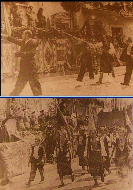 Празднования в Бучаче по случаю принятия Акта провозглашения Украинского государства. Демонстрацию украинского населения принимают офицеры Вермахта и деятели ОУН(Б)