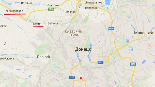 От куда стреляли по Донецку 18 июля